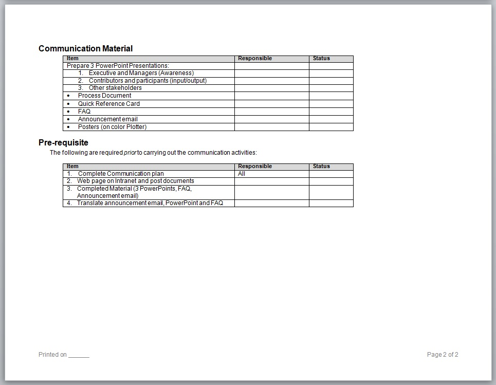 Communication Plan Page 2